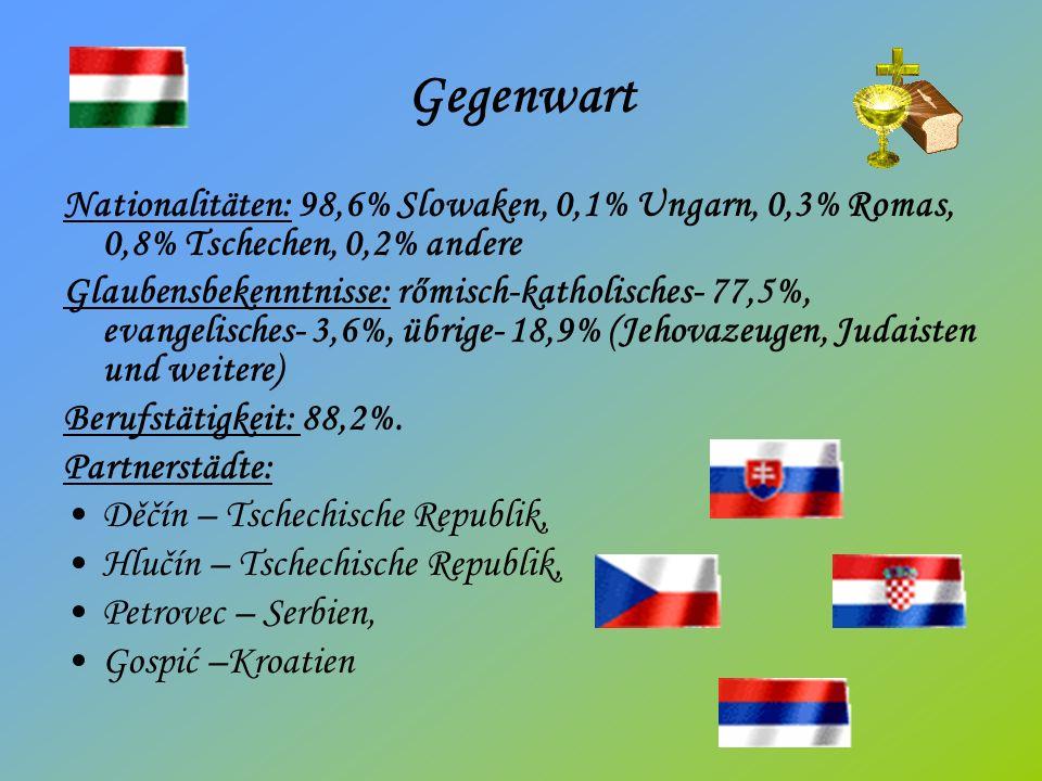 Gegenwart Nationalitäten: 98,6% Slowaken, 0,1% Ungarn, 0,3% Romas, 0,8% Tschechen, 0,2% andere Glaubensbekenntnisse: rőmisch-katholisches- 77,5%, evangelisches- 3,6%, übrige- 18,9% (Jehovazeugen, Judaisten und weitere) Berufstätigkeit: 88,2%.