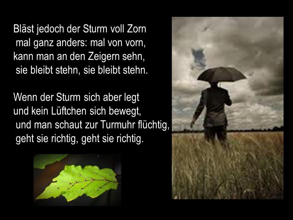 Bläst jedoch der Sturm voll Zorn mal ganz anders: mal von vorn, kann man an den Zeigern sehn, sie bleibt stehn, sie bleibt stehn.
