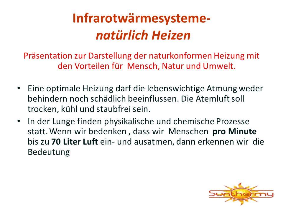 Infrarotwärmesysteme- natürlich Heizen Präsentation zur Darstellung der naturkonformen Heizung mit den Vorteilen für Mensch, Natur und Umwelt. Eine op