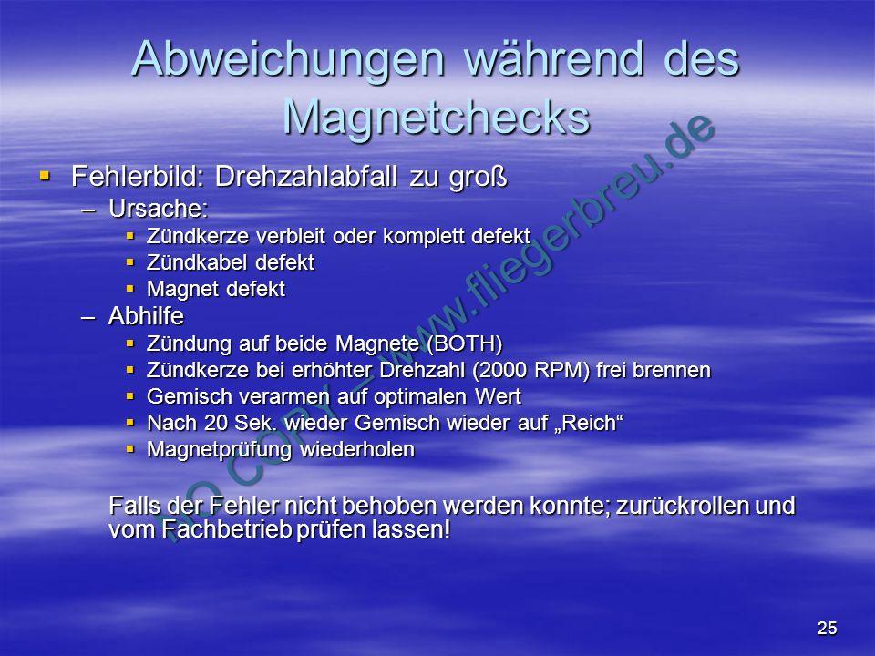 NO COPY – www.fliegerbreu.de 25 Abweichungen während des Magnetchecks Fehlerbild: Drehzahlabfall zu groß Fehlerbild: Drehzahlabfall zu groß –Ursache: