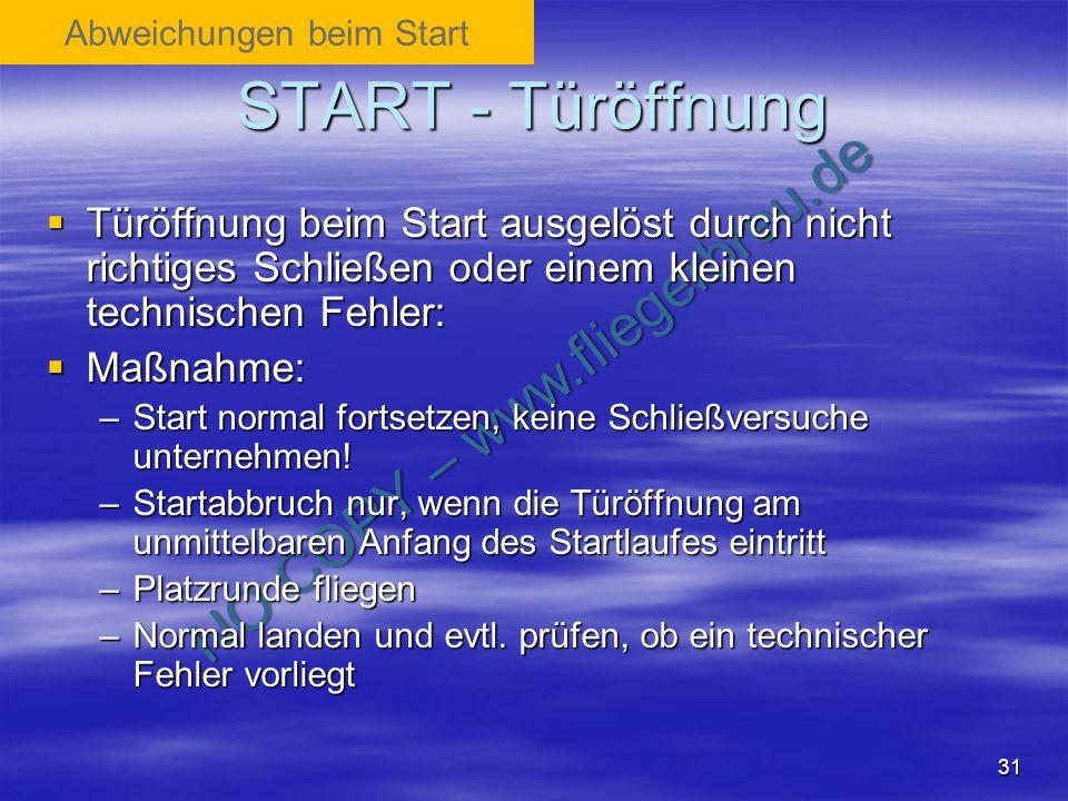 NO COPY – www.fliegerbreu.de 31 START - Türöffnung Türöffnung beim Start ausgelöst durch nicht richtiges Schließen oder einem kleinen technischen Fehl