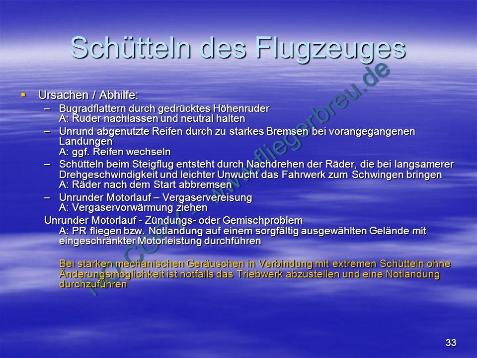 NO COPY – www.fliegerbreu.de 33 Schütteln des Flugzeuges Ursachen / Abhilfe: Ursachen / Abhilfe: –Bugradflattern durch gedrücktes Höhenruder A: Ruder