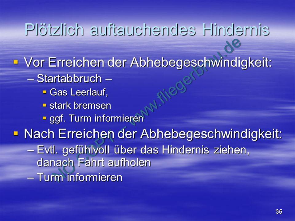 NO COPY – www.fliegerbreu.de 35 Plötzlich auftauchendes Hindernis Vor Erreichen der Abhebegeschwindigkeit: Vor Erreichen der Abhebegeschwindigkeit: –S