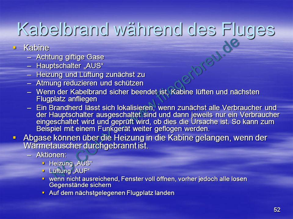 NO COPY – www.fliegerbreu.de 52 Kabelbrand während des Fluges Kabine Kabine –Achtung giftige Gase –Hauptschalter AUS –Heizung und Lüftung zunächst zu