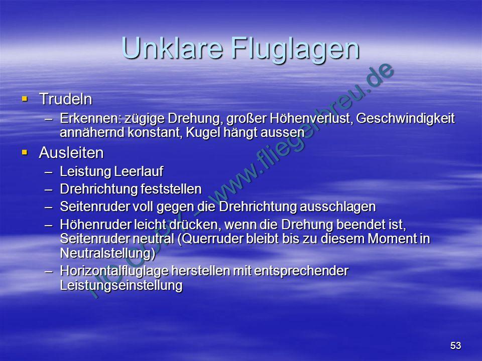 NO COPY – www.fliegerbreu.de 53 Unklare Fluglagen Trudeln Trudeln –Erkennen: zügige Drehung, großer Höhenverlust, Geschwindigkeit annähernd konstant,