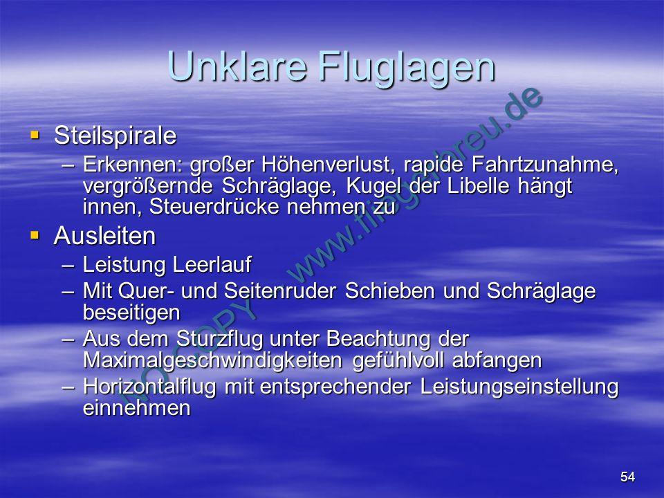 NO COPY – www.fliegerbreu.de 54 Unklare Fluglagen Steilspirale Steilspirale –Erkennen: großer Höhenverlust, rapide Fahrtzunahme, vergrößernde Schrägla