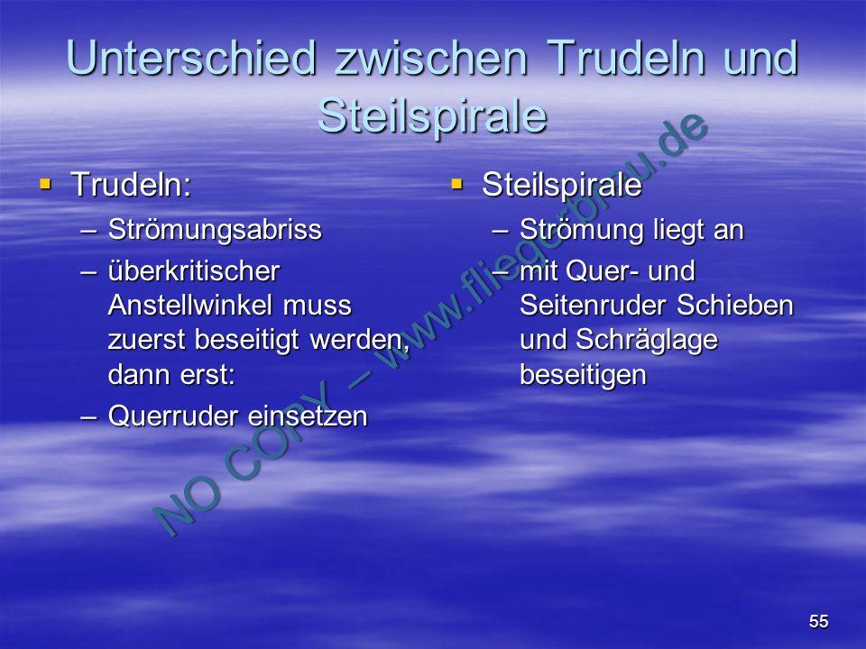 NO COPY – www.fliegerbreu.de 55 Unterschied zwischen Trudeln und Steilspirale Trudeln: Trudeln: –Strömungsabriss –überkritischer Anstellwinkel muss zu