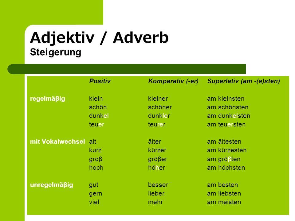 Adjektiv / Adverb Steigerung PositivKomparativ (-er)Superlativ (am -(e)sten) regelmäβigkleinkleineram kleinsten schön schöneram schönsten dunkeldunkle