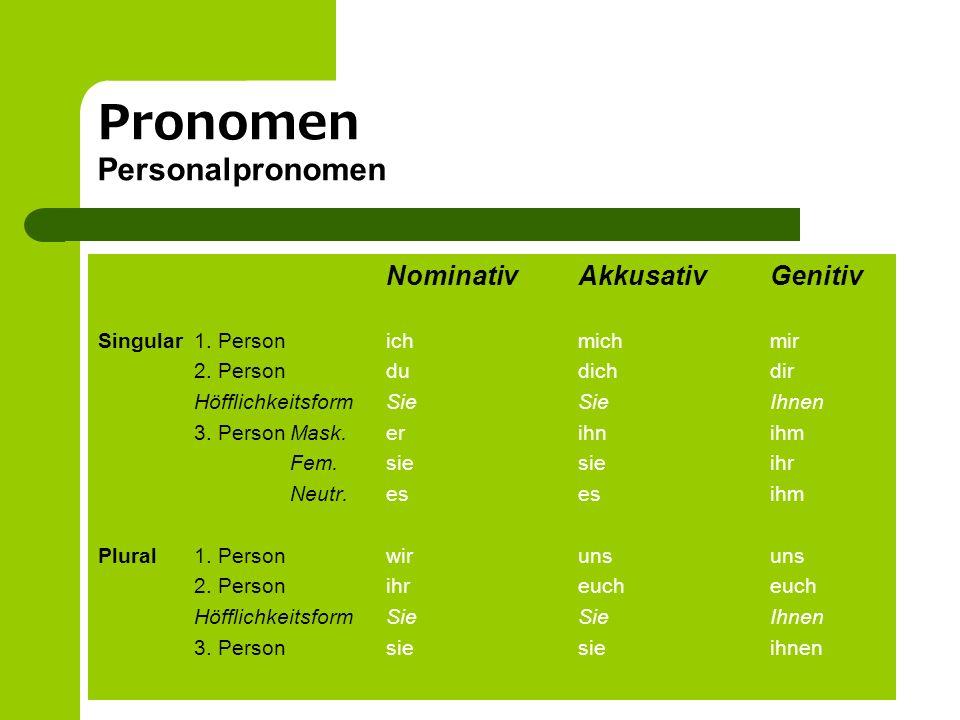 Pronomen Personalpronomen NominativAkkusativGenitiv Singular1. Personichmichmir 2. Persondudichdir HöfflichkeitsformSieSieIhnen 3. PersonMask.erihnihm