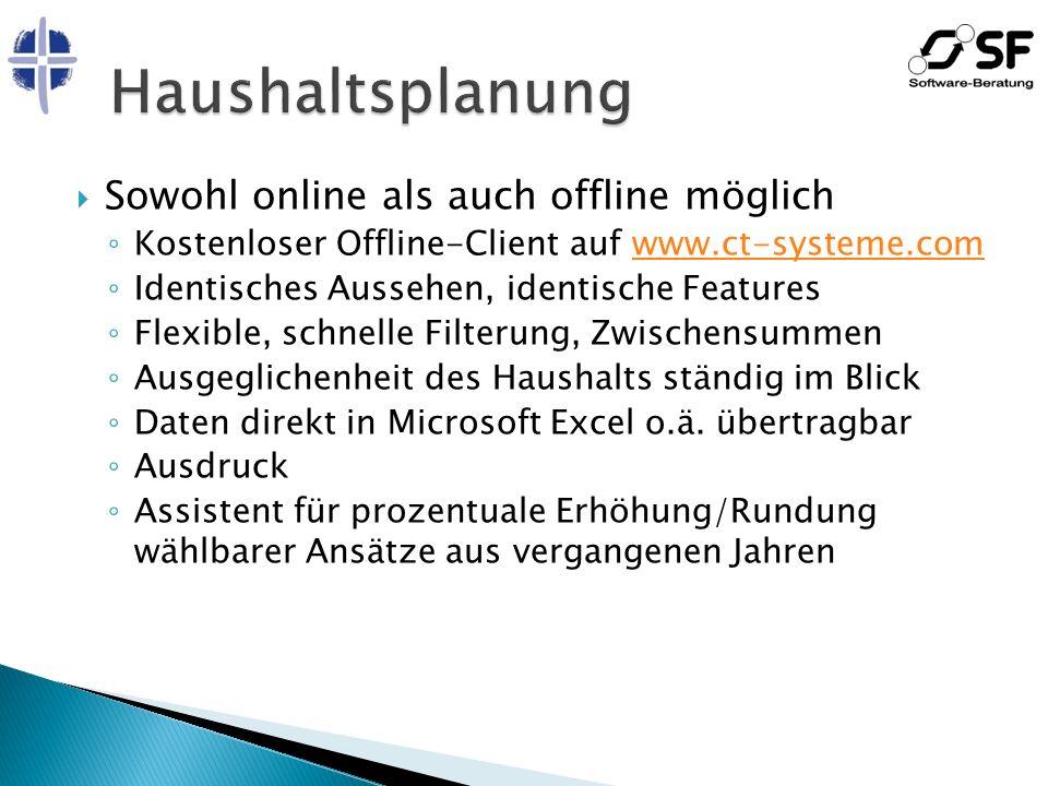 Sowohl online als auch offline möglich Kostenloser Offline-Client auf www.ct-systeme.comwww.ct-systeme.com Identisches Aussehen, identische Features F
