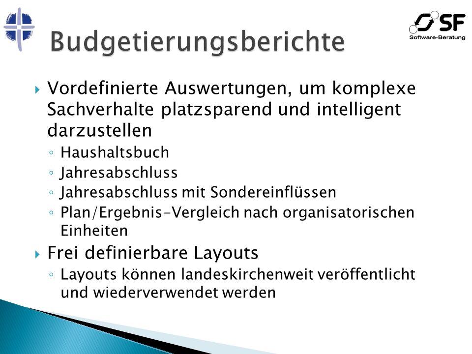 Vordefinierte Auswertungen, um komplexe Sachverhalte platzsparend und intelligent darzustellen Haushaltsbuch Jahresabschluss Jahresabschluss mit Sonde