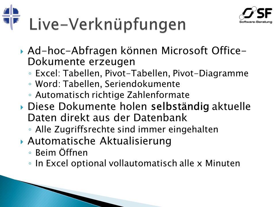Ad-hoc-Abfragen können Microsoft Office- Dokumente erzeugen Excel: Tabellen, Pivot-Tabellen, Pivot-Diagramme Word: Tabellen, Seriendokumente Automatis