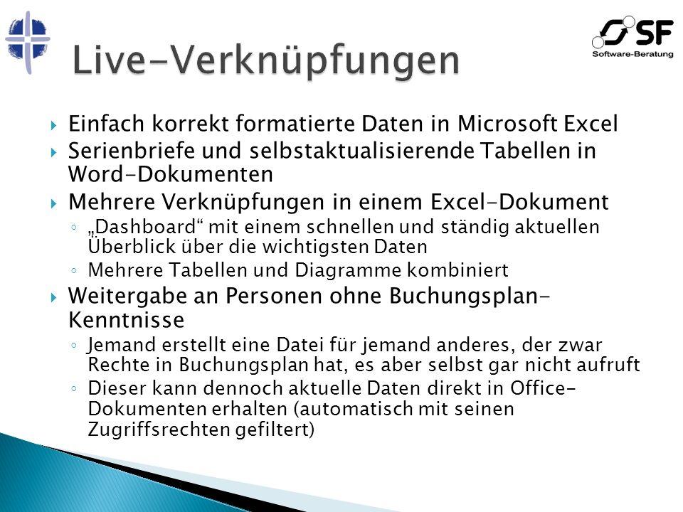 Einfach korrekt formatierte Daten in Microsoft Excel Serienbriefe und selbstaktualisierende Tabellen in Word-Dokumenten Mehrere Verknüpfungen in einem