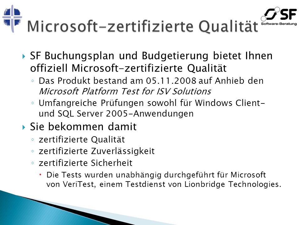 SF Buchungsplan und Budgetierung bietet Ihnen offiziell Microsoft-zertifizierte Qualität Das Produkt bestand am 05.11.2008 auf Anhieb den Microsoft Pl