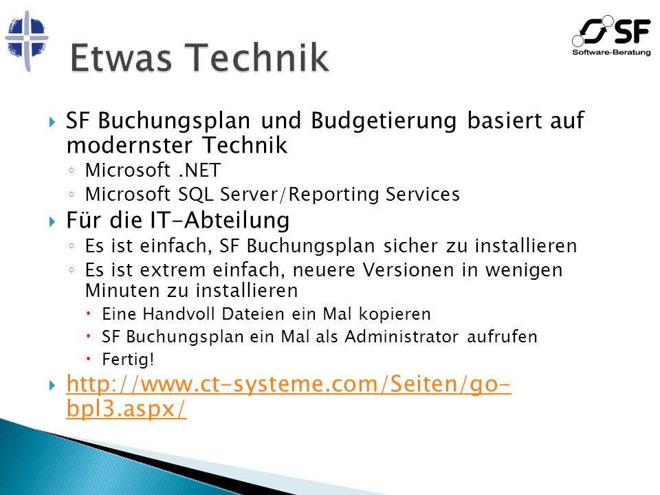 SF Buchungsplan und Budgetierung basiert auf modernster Technik Microsoft.NET Microsoft SQL Server/Reporting Services Für die IT-Abteilung Es ist einf