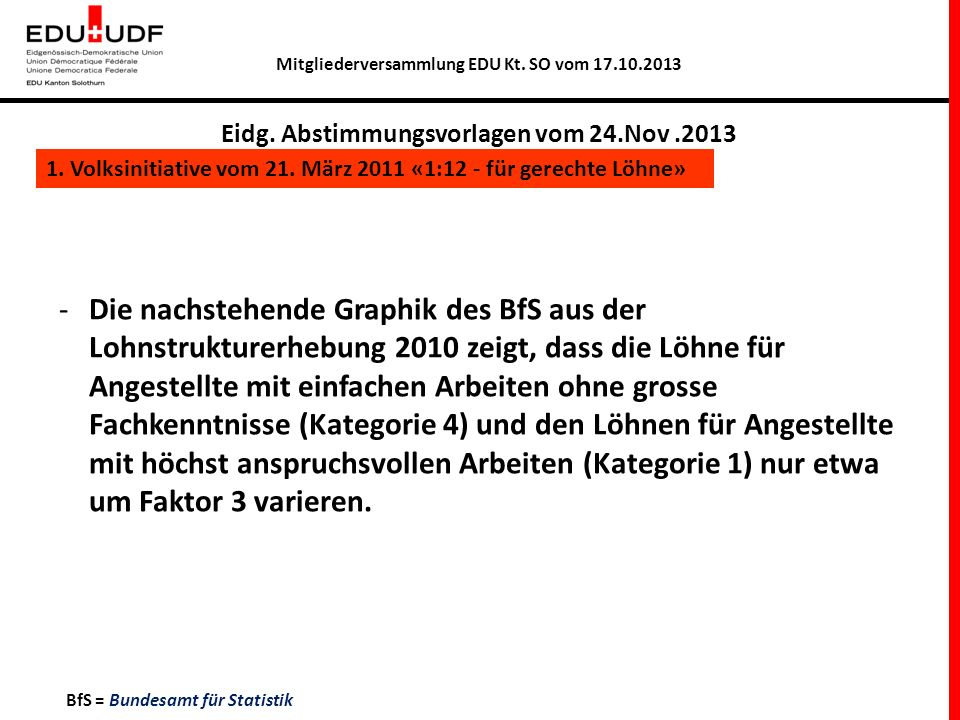 Mitgliederversammlung EDU Kt. SO vom 17.10.2013 Eidg. Abstimmungsvorlagen vom 24.Nov.2013 1. Volksinitiative vom 21. März 2011 «1:12 - für gerechte Lö