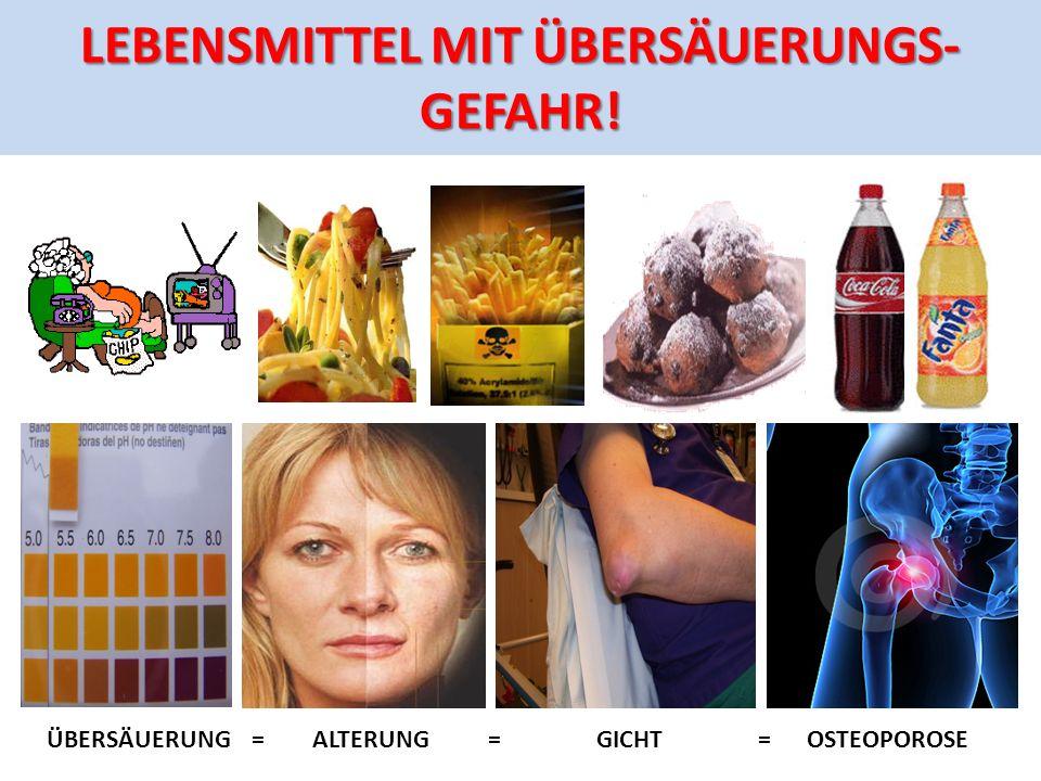 LEBENSMITTEL MIT ÜBERSÄUERUNGS- GEFAHR! ÜBERSÄUERUNG = ALTERUNG = GICHT = OSTEOPOROSE