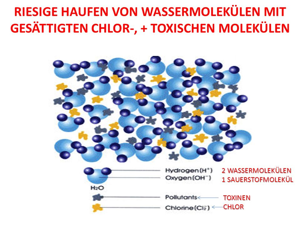 RIESIGE HAUFEN VON WASSERMOLEKÜLEN MIT GESÄTTIGTEN CHLOR-, + TOXISCHEN MOLEKÜLEN 2 WASSERMOLEKÜLEN 1 SAUERSTOFMOLEKÜL TOXINEN TOXINEN CHLOR CHLOR