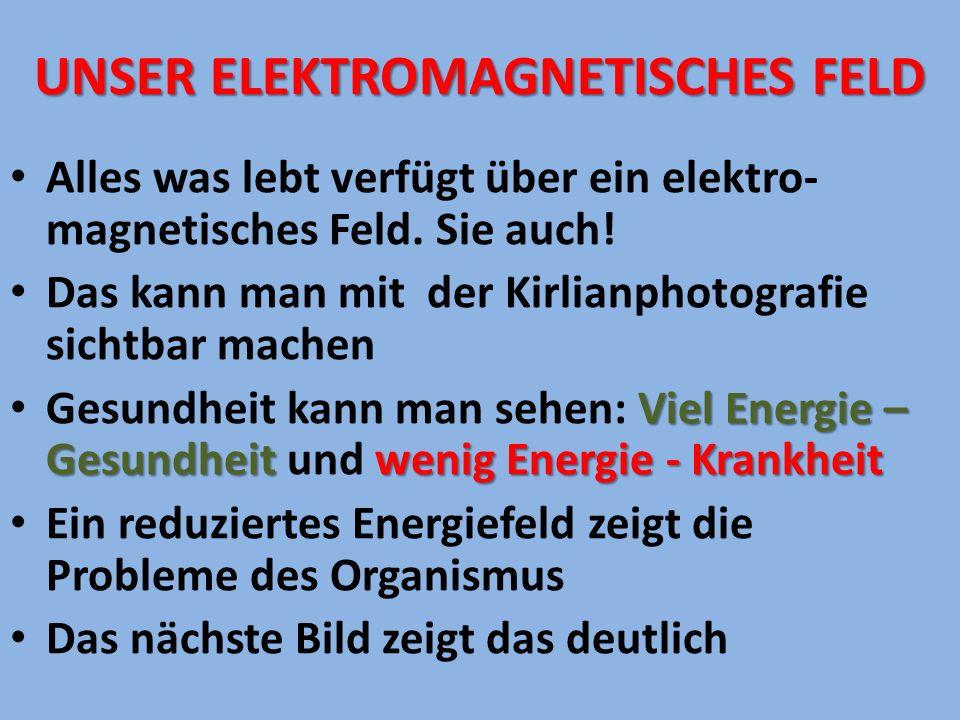 UNSER ELEKTROMAGNETISCHES FELD Alles was lebt verfügt über ein elektro- magnetisches Feld. Sie auch! Das kann man mit der Kirlianphotografie sichtbar