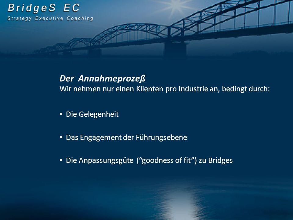 Der Annahmeprozeß Wir nehmen nur einen Klienten pro Industrie an, bedingt durch: Die Gelegenheit Das Engagement der Führungsebene Die Anpassungsgüte (goodness of fit) zu Bridges