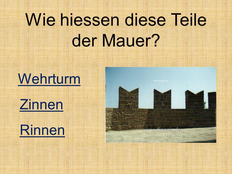 Wie hiessen diese Teile der Mauer? Zinnen Wehrturm Rinnen