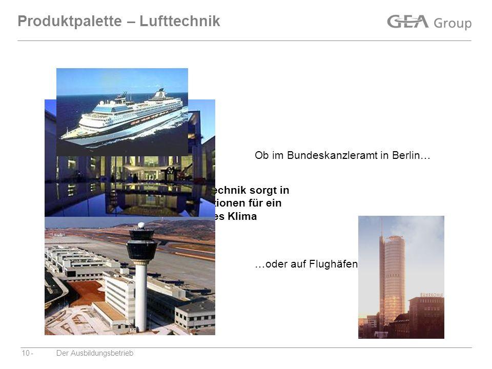 -Der Ausbildungsbetrieb10 Produktpalette – Lufttechnik Ob im Bundeskanzleramt in Berlin… …oder auf Flughäfen wie in Athen… …die Lufttechnik sorgt in a