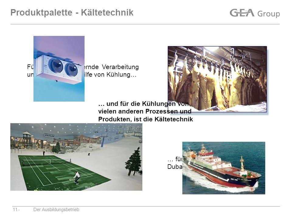 -Der Ausbildungsbetrieb11 Produktpalette - Kältetechnik Für die qualitätsichernde Verarbeitung und Lagerung mit Hilfe von Kühlung… … für großen Skispa