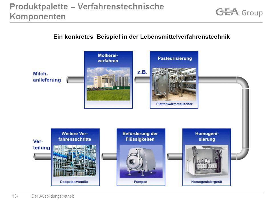 -Der Ausbildungsbetrieb13 Produktpalette – Verfahrenstechnische Komponenten Ein konkretes Beispiel in der Lebensmittelverfahrenstechnik