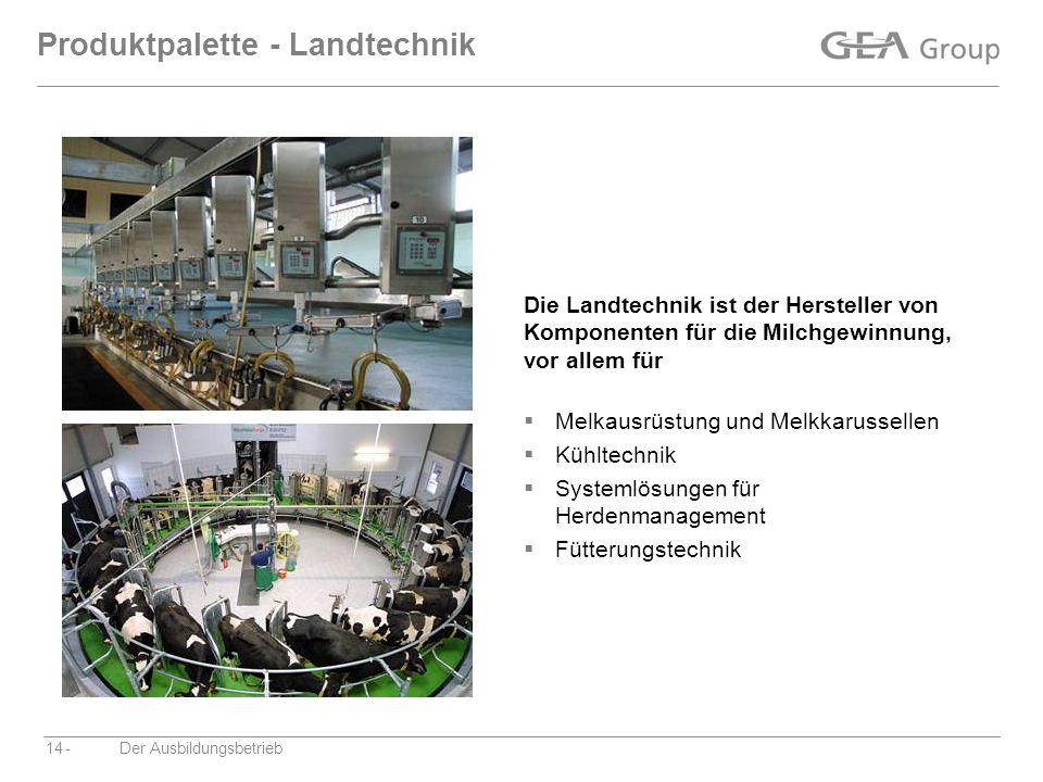 -Der Ausbildungsbetrieb14 Produktpalette - Landtechnik Die Landtechnik ist der Hersteller von Komponenten für die Milchgewinnung, vor allem für Melkau