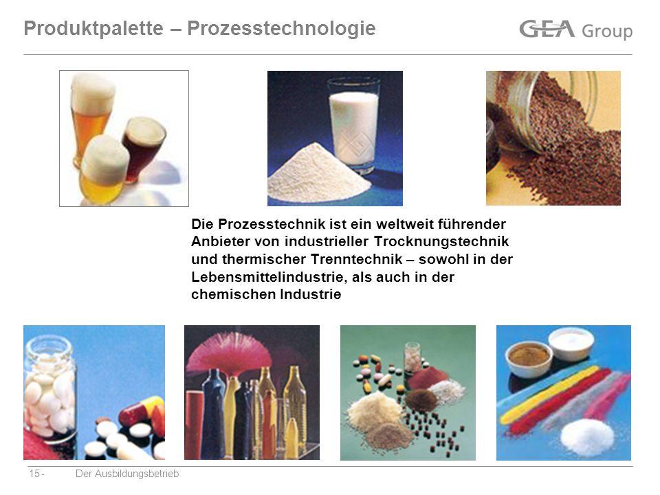-Der Ausbildungsbetrieb15 Produktpalette – Prozesstechnologie Die Prozesstechnik ist ein weltweit führender Anbieter von industrieller Trocknungstechn