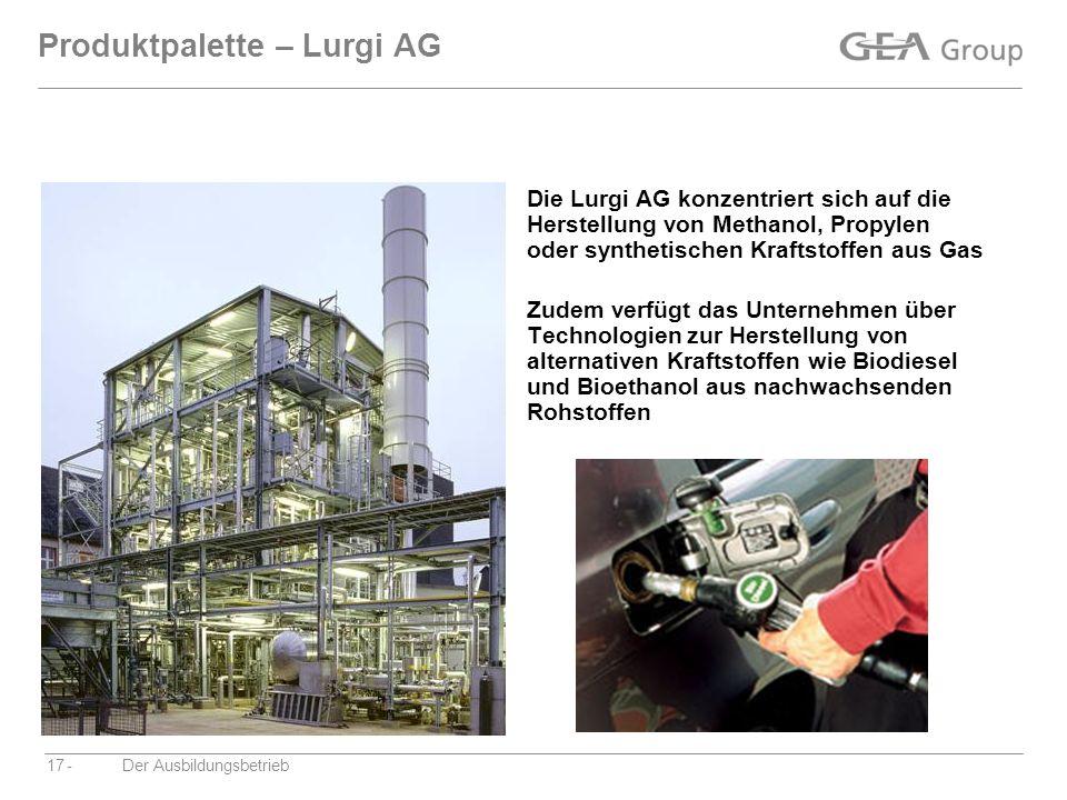 -Der Ausbildungsbetrieb17 Produktpalette – Lurgi AG Die Lurgi AG konzentriert sich auf die Herstellung von Methanol, Propylen oder synthetischen Kraft
