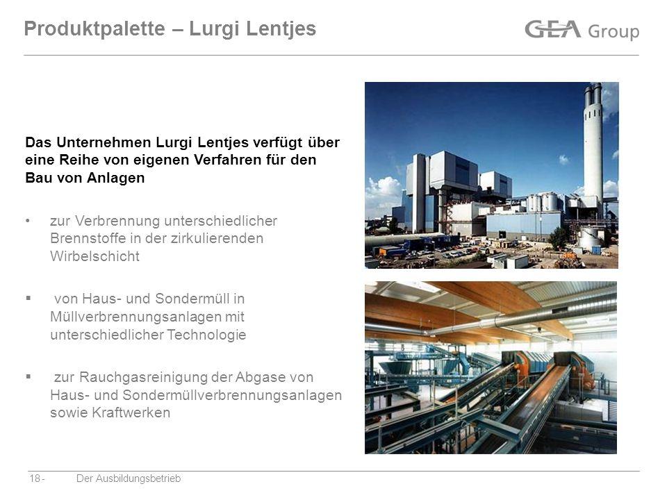 -Der Ausbildungsbetrieb18 Produktpalette – Lurgi Lentjes zur Verbrennung unterschiedlicher Brennstoffe in der zirkulierenden Wirbelschicht von Haus- u