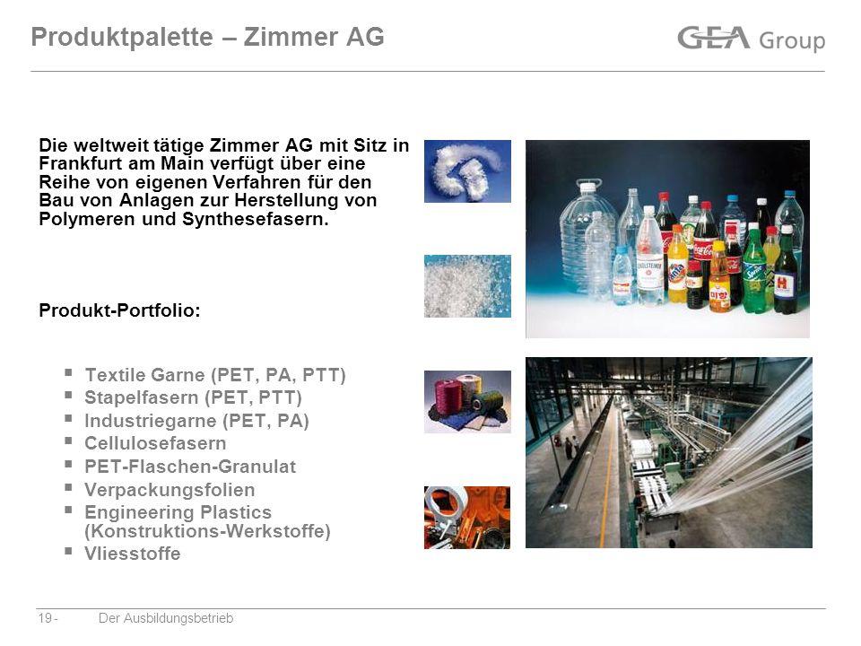 -Der Ausbildungsbetrieb19 Produktpalette – Zimmer AG Die weltweit tätige Zimmer AG mit Sitz in Frankfurt am Main verfügt über eine Reihe von eigenen V
