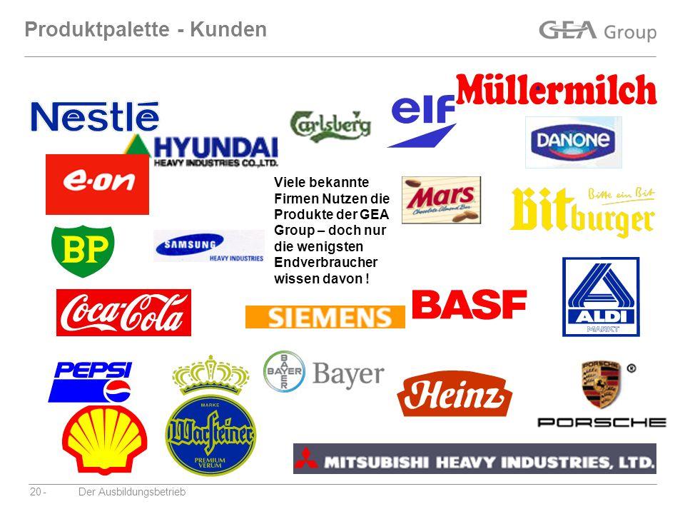 -Der Ausbildungsbetrieb20 Produktpalette - Kunden Viele bekannte Firmen Nutzen die Produkte der GEA Group – doch nur die wenigsten Endverbraucher wiss