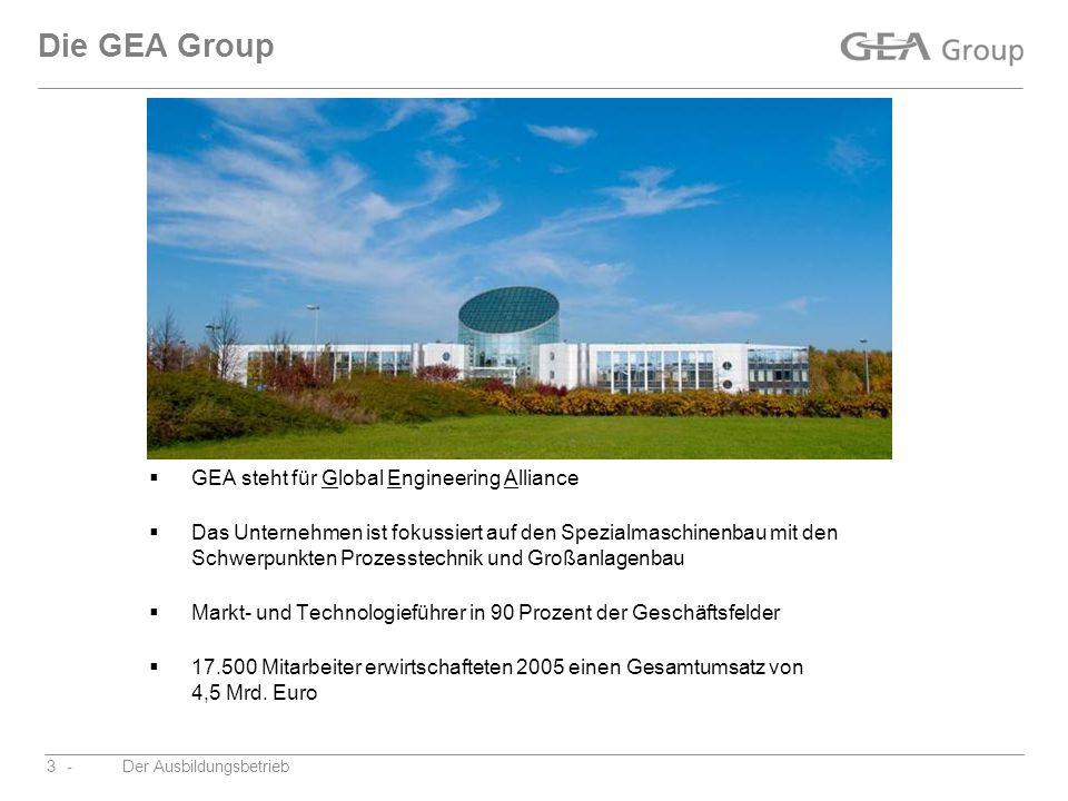 -Der Ausbildungsbetrieb3 Die GEA Group GEA steht für Global Engineering Alliance Das Unternehmen ist fokussiert auf den Spezialmaschinenbau mit den Sc
