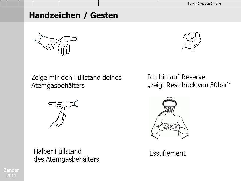 Zander 2013 Tauch-Gruppenführung Handzeichen / Gesten Zeige mir den Füllstand deines Atemgasbehälters Ich bin auf Reserve zeigt Restdruck von 50bar Ha