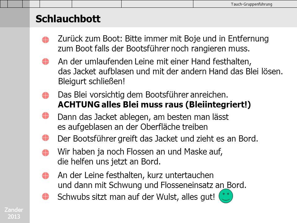 Zander 2013 Tauch-Gruppenführung Schlauchbott Zurück zum Boot: Bitte immer mit Boje und in Entfernung zum Boot falls der Bootsführer noch rangieren mu