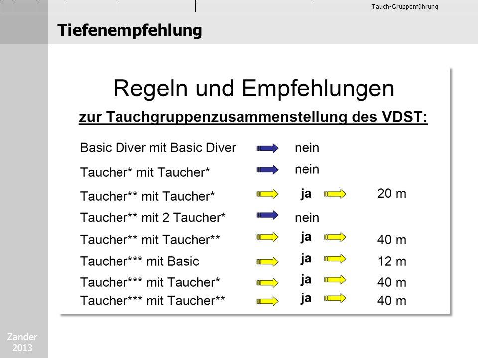 Zander 2013 Tauch-Gruppenführung Tauchformationen Tauch-Formation Buddy Leine Maximale Größe 3 Taucher, dann in 2er Gruppen aufsplitten