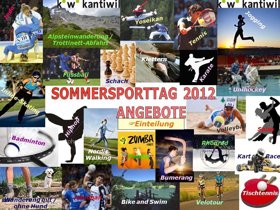 Sommersporttag 2012 Treffpunkt 0830 in Sportausrüstung auf der Galerie der Kanti Sporthalle Inhalt Zuerst verbessern wir unser Können am Tisch (Schlägerhaltung, Schlagtechnik, Beinarbeit,...), damit wir fürs Turnier gerüstet sind.