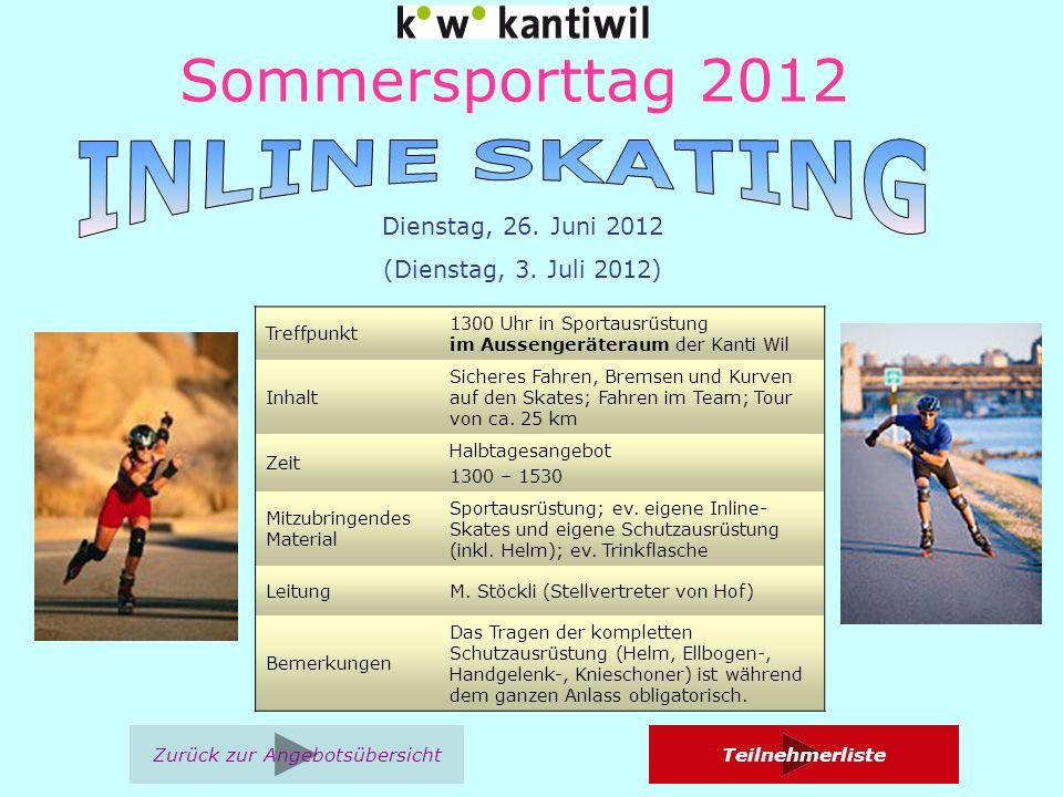 Sommersporttag 2012 Treffpunkt 1300 Uhr in Sportausrüstung im Aussengeräteraum der Kanti Wil Inhalt Sicheres Fahren, Bremsen und Kurven auf den Skates; Fahren im Team; Tour von ca.