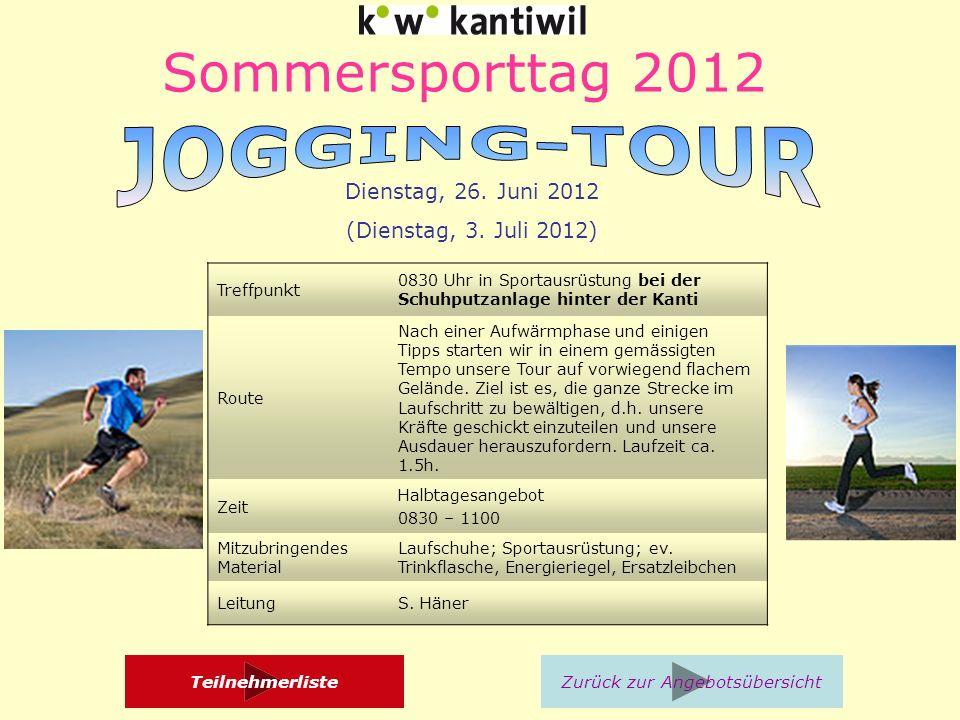 Sommersporttag 2012 Treffpunkt 0830 Uhr in Sportausrüstung bei der Schuhputzanlage hinter der Kanti Route Nach einer Aufwärmphase und einigen Tipps starten wir in einem gemässigten Tempo unsere Tour auf vorwiegend flachem Gelände.