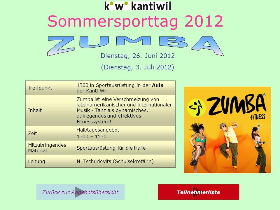 Sommersporttag 2012 Treffpunkt 1300 in Sportausrüstung in der Aula der Kanti Wil Inhalt Zumba ist eine Verschmelzung von lateinamerikanischer und internationaler Musik - Tanz als dynamisches, aufregendes und effektives Fitnesssystem.