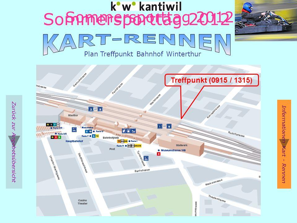 Sommersporttag 2012 Zurück zur Angebotsübersicht Plan Treffpunkt Bahnhof Winterthur Informationen Kart - Rennen Treffpunkt (0915 / 1315) Sommersporttag 2012
