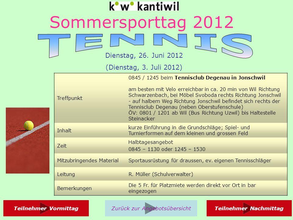 Sommersporttag 2012 Treffpunkt 0830 / 1300 in Sportausrüstung in der Sporthalle A der Kanti Wil Inhalt Nach kurzem Einspielen und Regelkunde wird ein Turnier durchgeführt.
