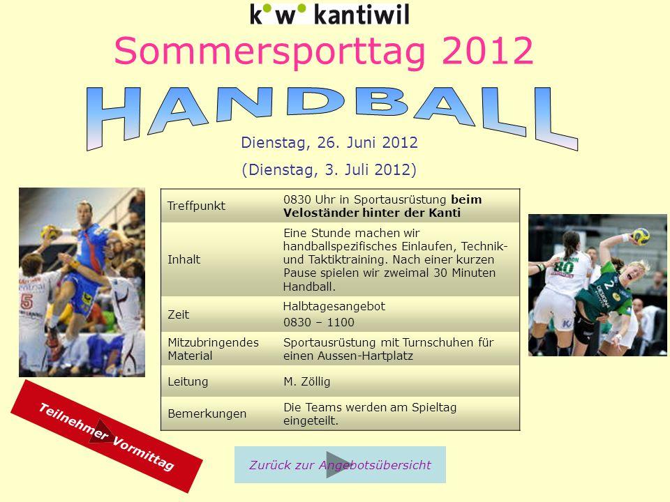 Sommersporttag 2012 Treffpunkt 0830 Uhr in Sportausrüstung beim Veloständer hinter der Kanti Inhalt Eine Stunde machen wir handballspezifisches Einlaufen, Technik- und Taktiktraining.