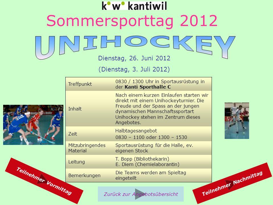 Sommersporttag 2012 Treffpunkt 0830 / 1300 Uhr in Sportausrüstung in der Kanti Sporthalle C Inhalt Nach einem kurzen Einlaufen starten wir direkt mit einem Unihockeyturnier.