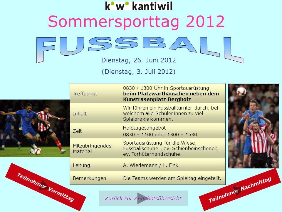 Sommersporttag 2012 Treffpunkt 0830 / 1300 in Sportausrüstung im Zimmer K 101 der Kanti Wil Inhalt Faust/Hand- und Fussangriffe (mit Schlagkissen), Hebel, Würfe, usw.