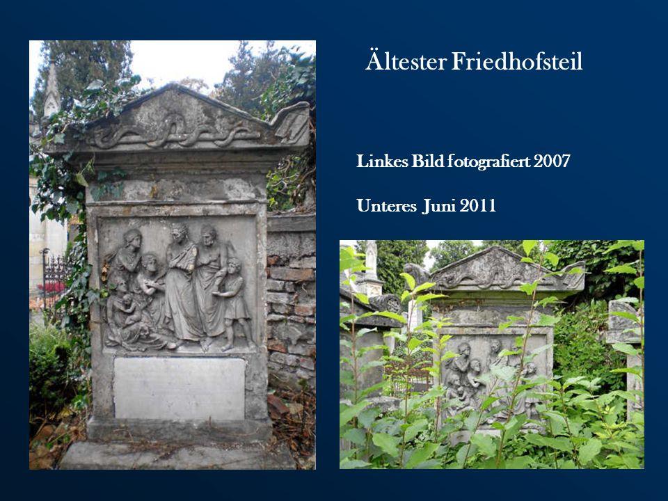 Der ältere Teil besteht aus Grabstätten des Biedermeiers und wirkt ruhiger und bescheidener. Im Gegensatz zum neueren Teil, wo in den Grabstätten der