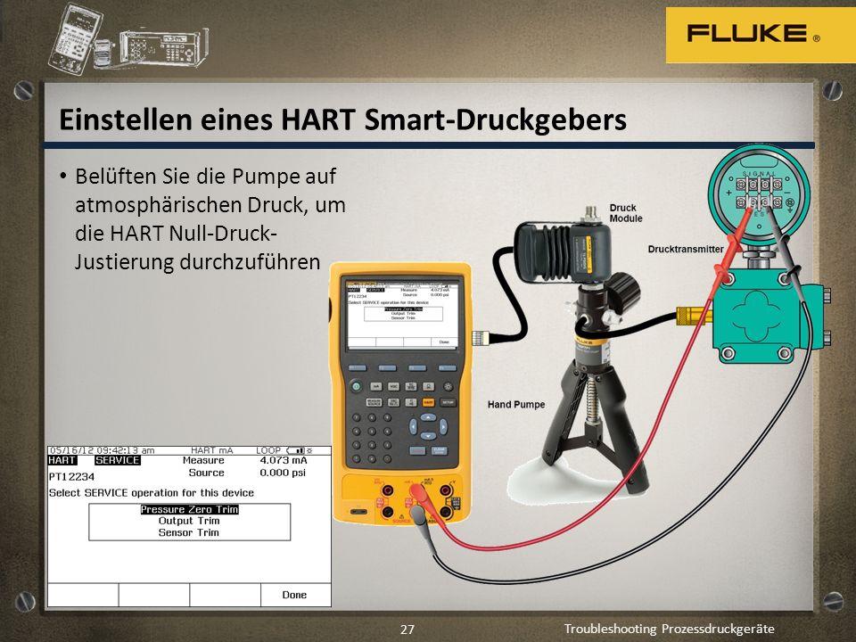 Troubleshooting Prozessdruckgeräte 27 Einstellen eines HART Smart-Druckgebers Belüften Sie die Pumpe auf atmosphärischen Druck, um die HART Null-Druck