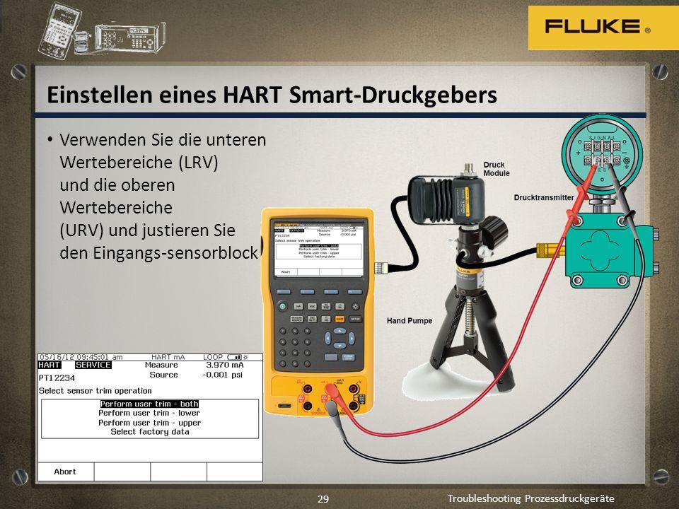 Troubleshooting Prozessdruckgeräte 29 Einstellen eines HART Smart-Druckgebers Verwenden Sie die unteren Wertebereiche (LRV) und die oberen Wertebereic